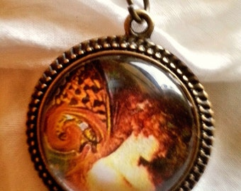 CLEARANCE  Fairy  Glass Cameo pendant with chain