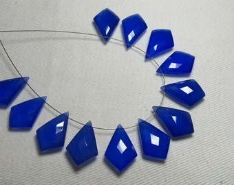5 Matched Pairs Calibrated Huge size 12x18 mm - Gorgeous COBALT Blue  CHALCEDONY - Faceted Tie Shape  Briolett Total 10 pcs