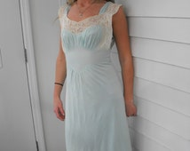 40s Nightgown Vintage Blue Lace Rayon Gown Kayser Lingerie Sheer 32 XS