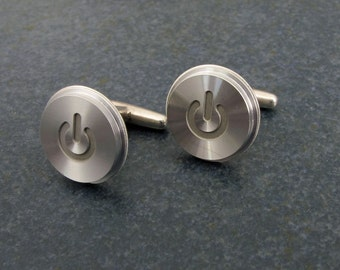 Power Up Cuff Links, Silver Mac Power Button, Sterling, Recycled, Apple, Techie, Wedding, Anniversary, Birthday, Gift, Men