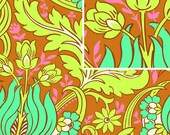 SALE! Designer Fabric - Amy Butler Soul Blossoms Collection, Temple Tulips in Cinnamon - 1 yard