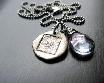 Oxidized Fine Silver Letterpress Decorative Pendant Necklace, Mystic Blue Quartz Briolette
