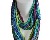 Infinity scarf, crochet, handmade, natural, circle scarf, chain scarf, green and blue, soft, light, spring, bamboo, bright colors, colorful