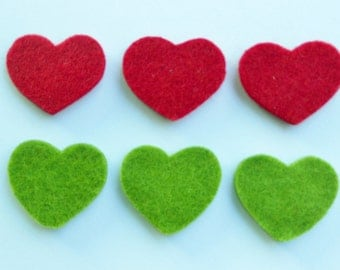 Chunky die cut felt hearts - sage green and dark red set of 6 pieces valentine projects