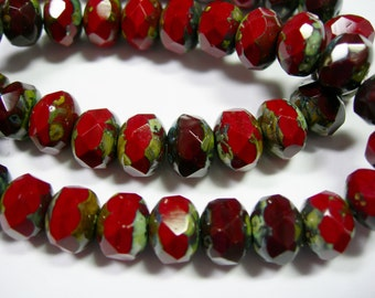 25 beads - 8x6mm Chestnut Traventine Czech Fire polished Rondelle beads
