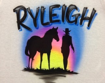 Airbrush Cowgirl and Her Horse Shirt Personalized with Name size S  M L XL 2X Airbrushed T-Shirt