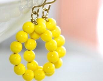 Yellow Hoop Earrings - 'Joy Residue'