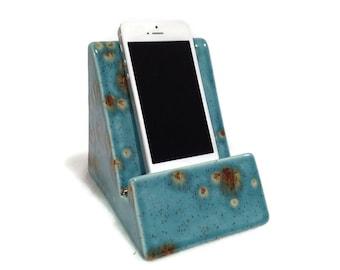 iPhone iPad Stand - Ceramic Teal Blue