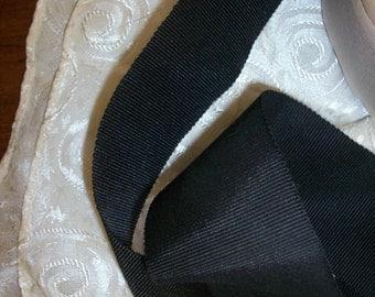 "2 yds. of 1920s vintage soft petersham ribbon black 1 3/4"" wide, more avail."