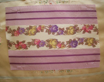 """8"""" long Antique watered silk ikat french ribbon with roses"""