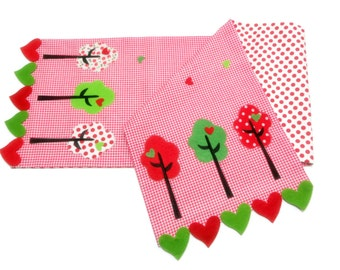 Colorful Trees Appliqued Table Runner-Red-White Checked Coton Fabric with Red-White Dots Lining and  Felt Heart  Border