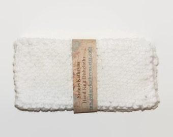 White Hand Knit Dish Cloths