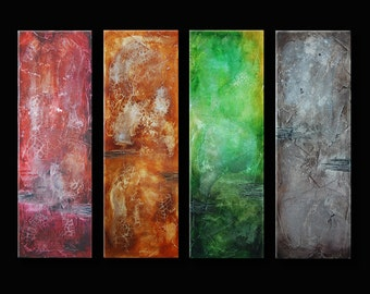 Original Abstract Art Painting Contemporary Colorful Large Modern Art on Canvas Orange Red Gray Green - Made to order