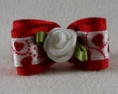 "Valentines Day Dog Topknot Bow 5/8"" Ribbon Grooming Bows Shih Tzu Maltese Yorkie Havanese"