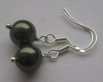 Simple Dark Green 8mm Swarovski Pearl Sterling Silver Earrings
