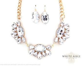 Vintage Inspired Bridal Necklace Set, Rhinestone Necklace, Fashion Jewelry, Wedding Jewelry, Bridesmaids Jewelry, Statement Necklace