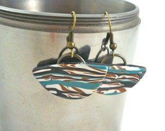 Clay dangle earrings aqua and brown stripes