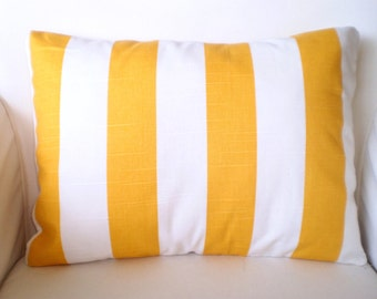 Yellow Stripe Lumbar Pillow Cover, Decorative Throw Pillow, Cushion, Yellow White Stripe Lumbar Couch Pillow Beach One 12 x 16 or 12 x 18