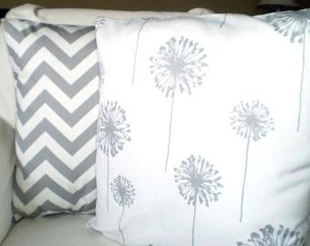 Gray White Pillow Covers, Decorative Pillows, Cushion Covers, Throw Pillows, Grey White Chevron Dandelion Zig Zag, Combo Set 18 x 18