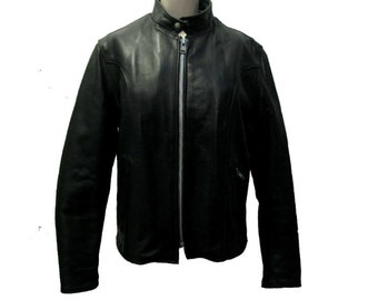 Vintage Cafe Racer Motorcycle Jacket Womens Reed Black Leather Euro Style Biker Coat Made in the USA Wms X-Large
