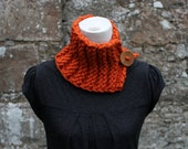 Handknit collar neckwarmer with button closure in Burnt orange, womens scarf snood vegan knitwear, UK