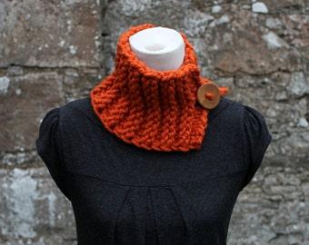 Handknit collar neckwarmer with button closure in Burnt orange, womens scarf snood vegan knitwear, UK