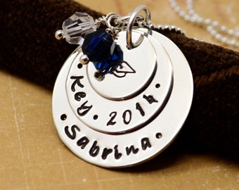 Class of 2014 Personalized Graduation Necklace, Senior High School, College, Gift, Graduation Cap Necklace, Hand Stamped Jewelry