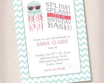 Octopus Pool Swim Party Printable Invitation - Birthday, Party, Celebration