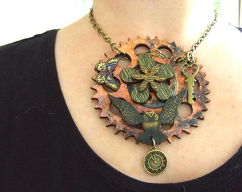 Fabulous, Steampunk, Large, wooden necklace, brown, bronze, owl, watch, by NewellsJewels on etsy