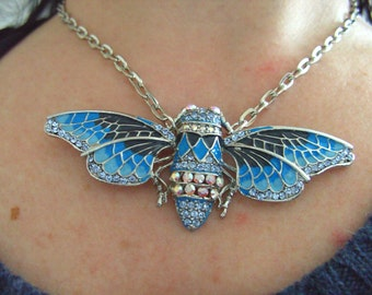 Lovely, Statement necklace, Cicada, moth, butterfly, Necklace, BLUE, Grey, crystal, sparkly, by NewellsJewels on etsy