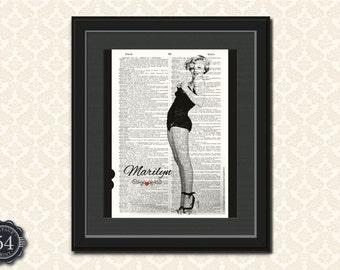 MARILYN MONROE ART Vintage Dictionary Art Print Marilyn Monroe Poster Wall Art Home Decor Marilyn Monroe Photo Marilyn Monroe Portrait