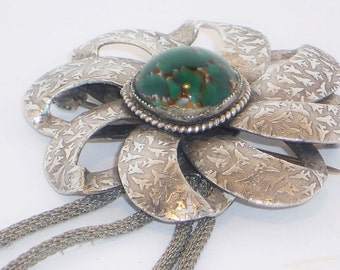 SALE Vintage Mexican Silver Agate Flower Brooch, Jewelry, Green