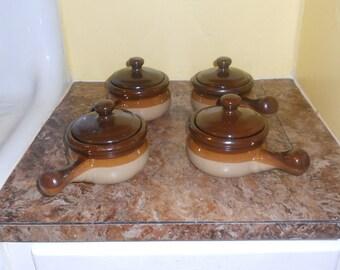 Stoneware French Onion Soup Bowls/Crocks w/ Lids-Set of 4