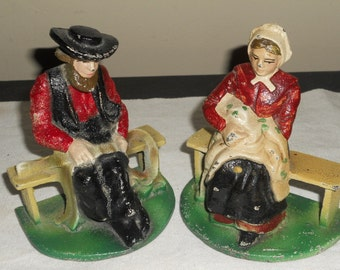 Antique Cast Iron Amish People-Man And Woman Set-Sitting Down-Bookends
