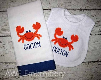 Monogrammed Crab Burp Cloth and Bib Set for Baby Boy - Embroidered Personalized - Blue and Orange