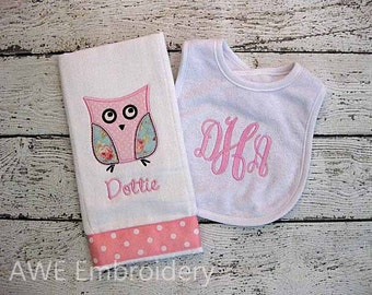 Monogrammed Bib and Burp Cloth Gift Set for Baby Girl with Applique Owl