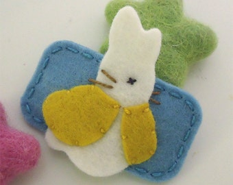 Felt hair clip -No slip -Wool felt -Bunny Rabbit -aqua