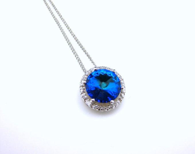 Bridal necklace bridesmaid wedding gift necklace Sterling silver necklace with round swarovski rivoli bermuda blue rhinestone pendant