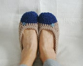 Crochet Slippers Womens Flats Two Tone Navy and Taupe