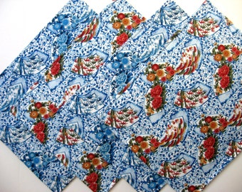 Reversible Placemats - Blue Placemats - Heat Resistant Placemats - Floral Placemats - Asian Style - Set of Four