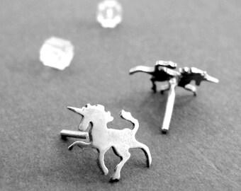 Tiny Silver Unicorn Earrings