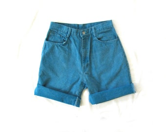 vintage jean shorts 80s turquoise blue high waisted 1980s womens clothing size large l 13 14