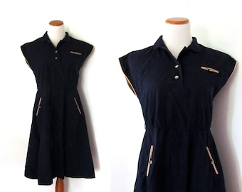 vintage dress 80s retro navy blue taupe piping contrast 1980s womens clothing size large l