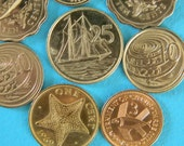 8 Ocean Theme Coins New Zealand, Caymen Islands, Bahamas, Singapore, Cyprus