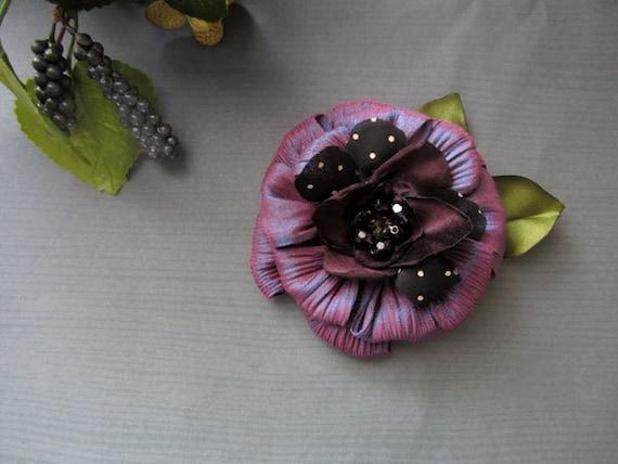 Enchanted Purple Butterfly Flower Brooch Pin Handmade corsage pin