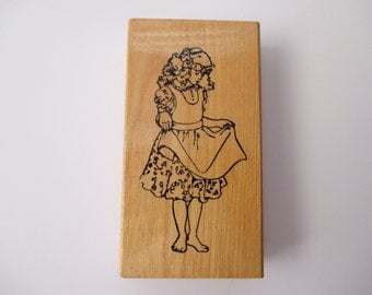 rubber stamp mounted on wood - girl, prairie