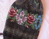 antique beaded purse - very early 1900s - black with flowers, drawstring, reticule