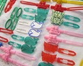 46 vintage barrettes - whales, cats, butterflies, kittens, dogs, shapes and more - new old stock - asst B