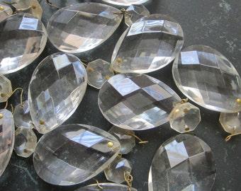 4 vintage chandelier crystals - teardrop prisms - 0618b