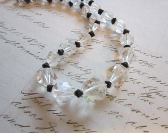 vintage crystal necklace - clear and black faceted - sterling clasp
